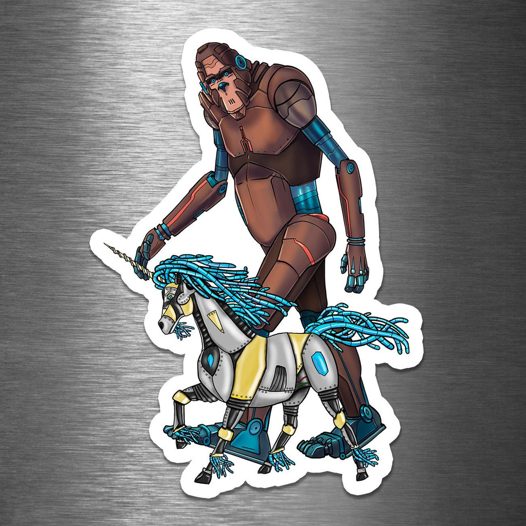 """Bigfoot & His Unicorn Robots"" - Premium 5.25"" Vinyl Sticker (PRE-ORDER) - Dan Pearce Creative Shop"