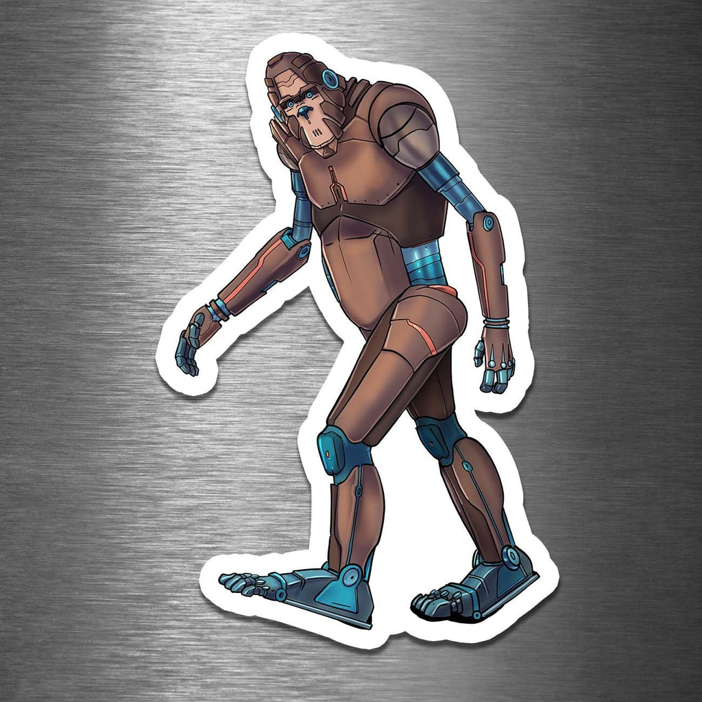 """Bigfoot - Sasquatch Robot"" - 3.5"" Premium Vinyl Sticker - Dan Pearce Creative Shop"