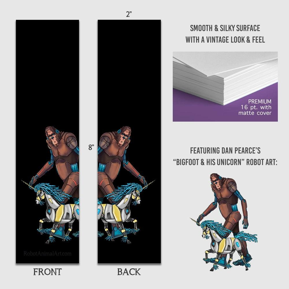 """Bigfoot & Unicorn Robots"" Premium Bookmark Featuring Art by Dan Pearce - Dan Pearce Creative Shop"