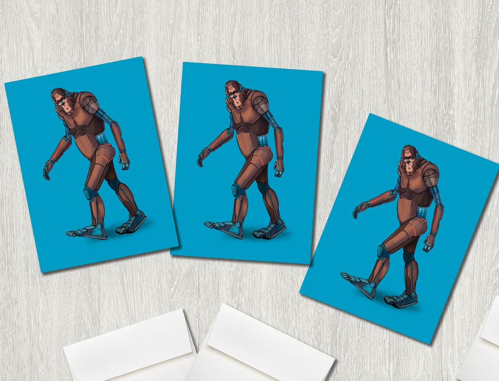 """Bigfoot/Sasquatch Robot"" Premium Greeting Card(s) Featuring Art by Dan Pearce - Dan Pearce Creative Shop"