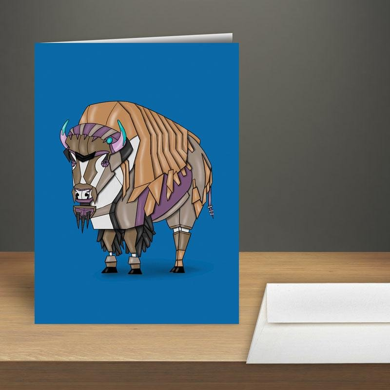 """Bison/Buffalo Robot"" Premium Greeting Card(s) Featuring Art by Dan Pearce - Dan Pearce Creative Shop"