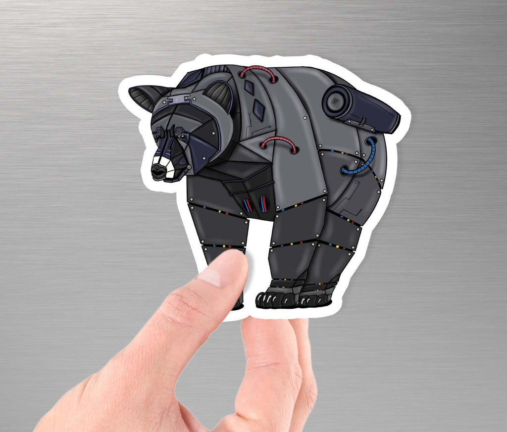 """Black Bear Robot"" - 3.5"" Premium Vinyl Sticker - Dan Pearce Creative Shop"