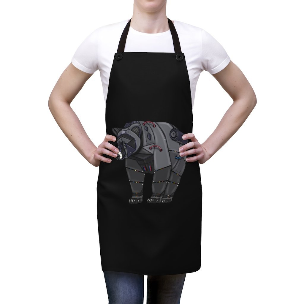 """Black Bear Robot"" Cooking Apron Featuring Art by Dan Pearce - Dan Pearce Creative Shop"