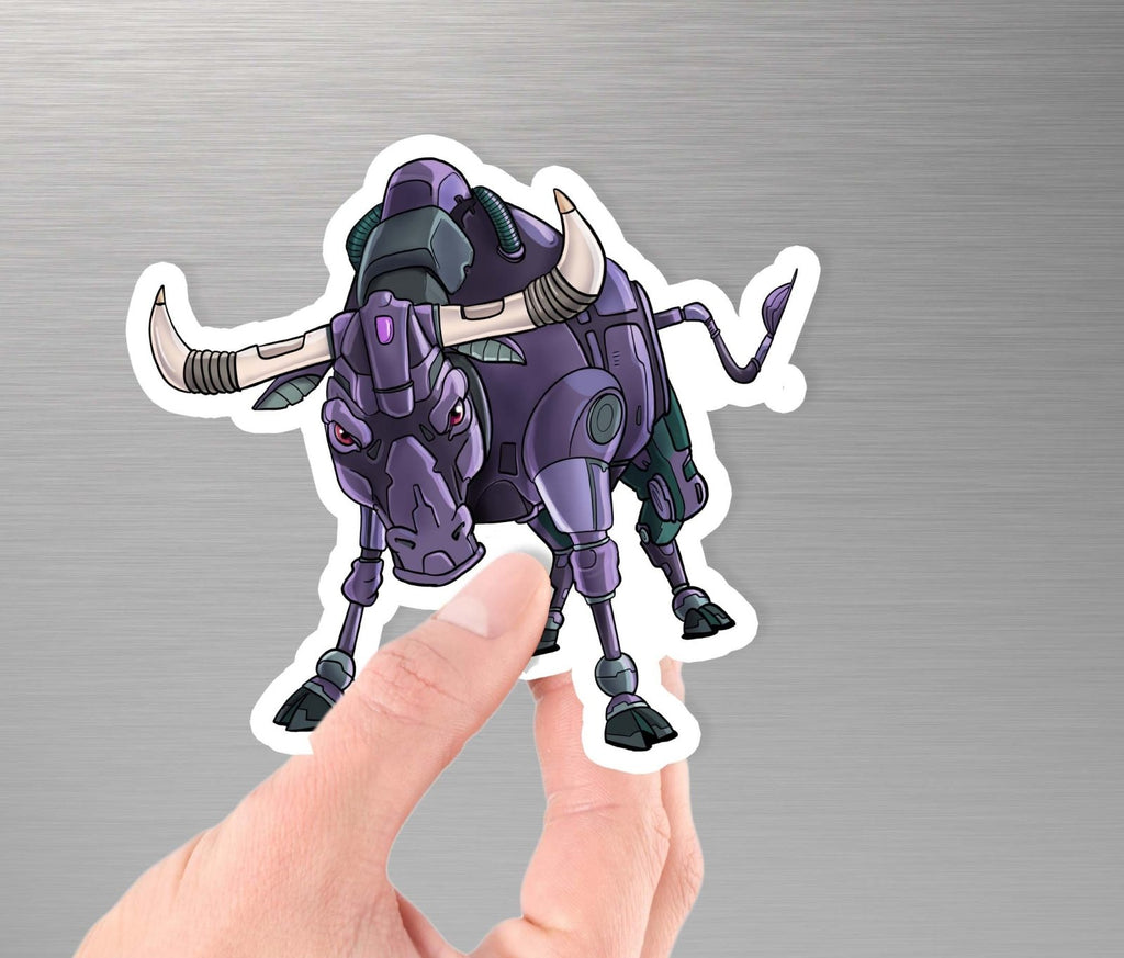 """Bull Robot- Charging"" - 3.5"" Premium Vinyl Sticker - Dan Pearce Creative Shop"