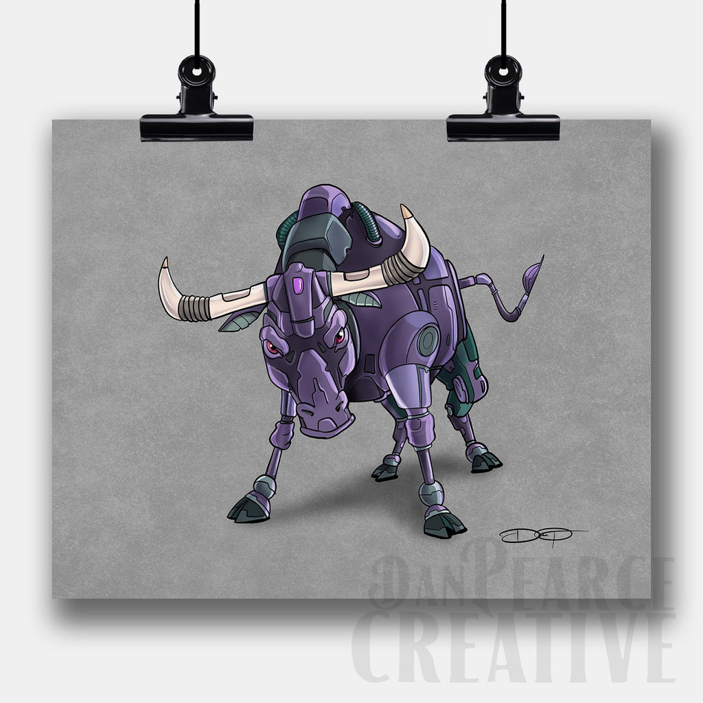 Bull Robot Fine Art Print Created by Dan Pearce - Dan Pearce Creative Shop
