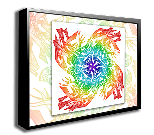 "Canvas Wrap Mounted in Floating Black Metal Frame (Add-On for Custom ""Name Mandalas"") - Dan Pearce Creative Shop"