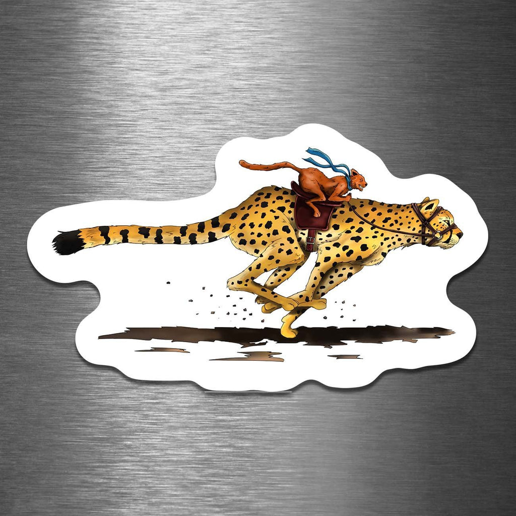 """Cat Riding a Cheetah"" 3.5"" Vinyl Sticker - Dan Pearce Creative Shop"