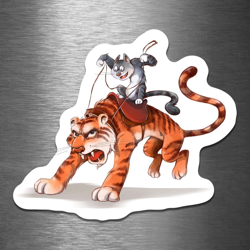 """Cat Riding a Tiger"" 3.5"" Vinyl Stick-On - Dan Pearce Creative Shop"