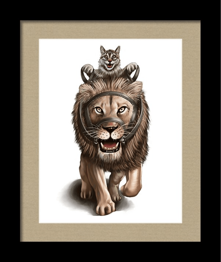 """Cat Riding the Lion"" Art Print by Dan Pearce - Dan Pearce Creative Shop"