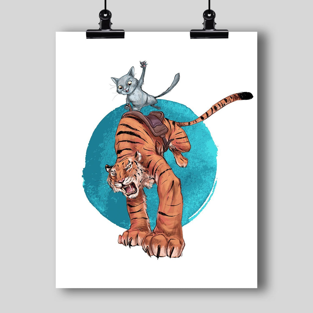 """Cat Riding the Tiger"" Art Print by Dan Pearce - Dan Pearce Creative Shop"