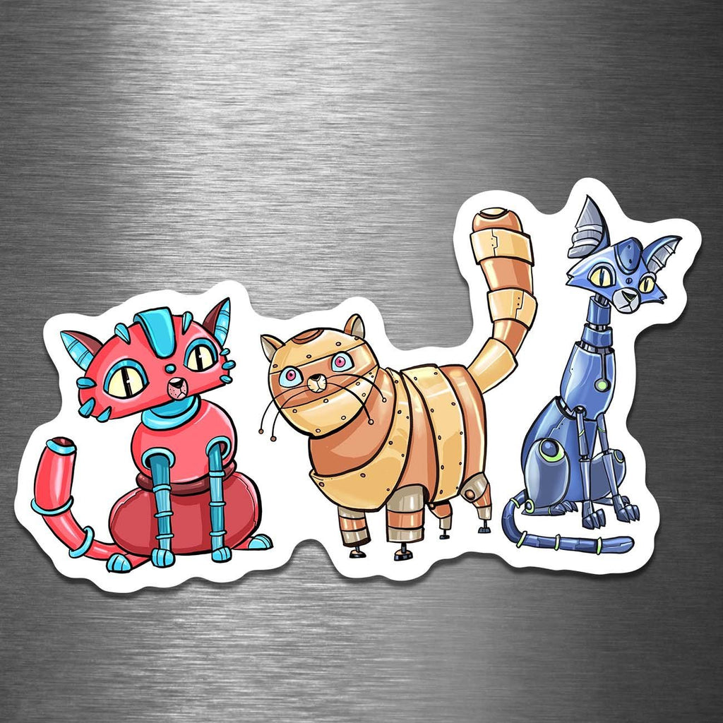 """CATS! Robots"" - 5"" Premium Vinyl Sticker - Dan Pearce Creative Shop"