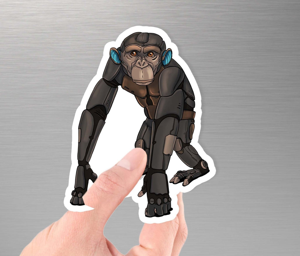 """Chimpanzee Robot"" - 3.5"" Premium Vinyl Sticker - Dan Pearce Creative Shop"