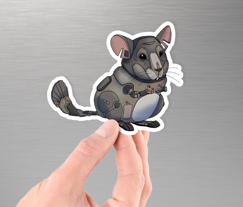 """Chinchilla Robot"" - 3.5"" Premium Vinyl Sticker - Dan Pearce Creative Shop"