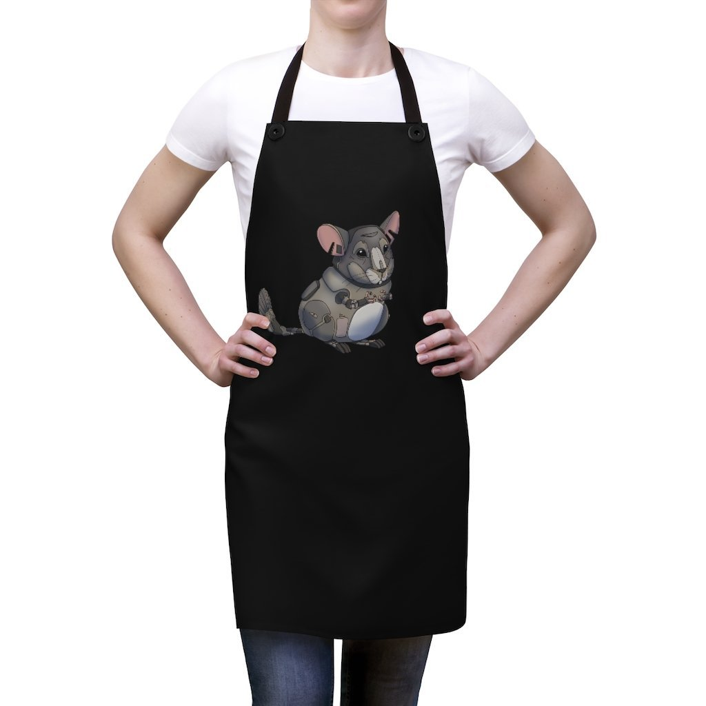 """Chinchilla Robot"" Cooking Apron Featuring Art by Dan Pearce - Dan Pearce Creative Shop"