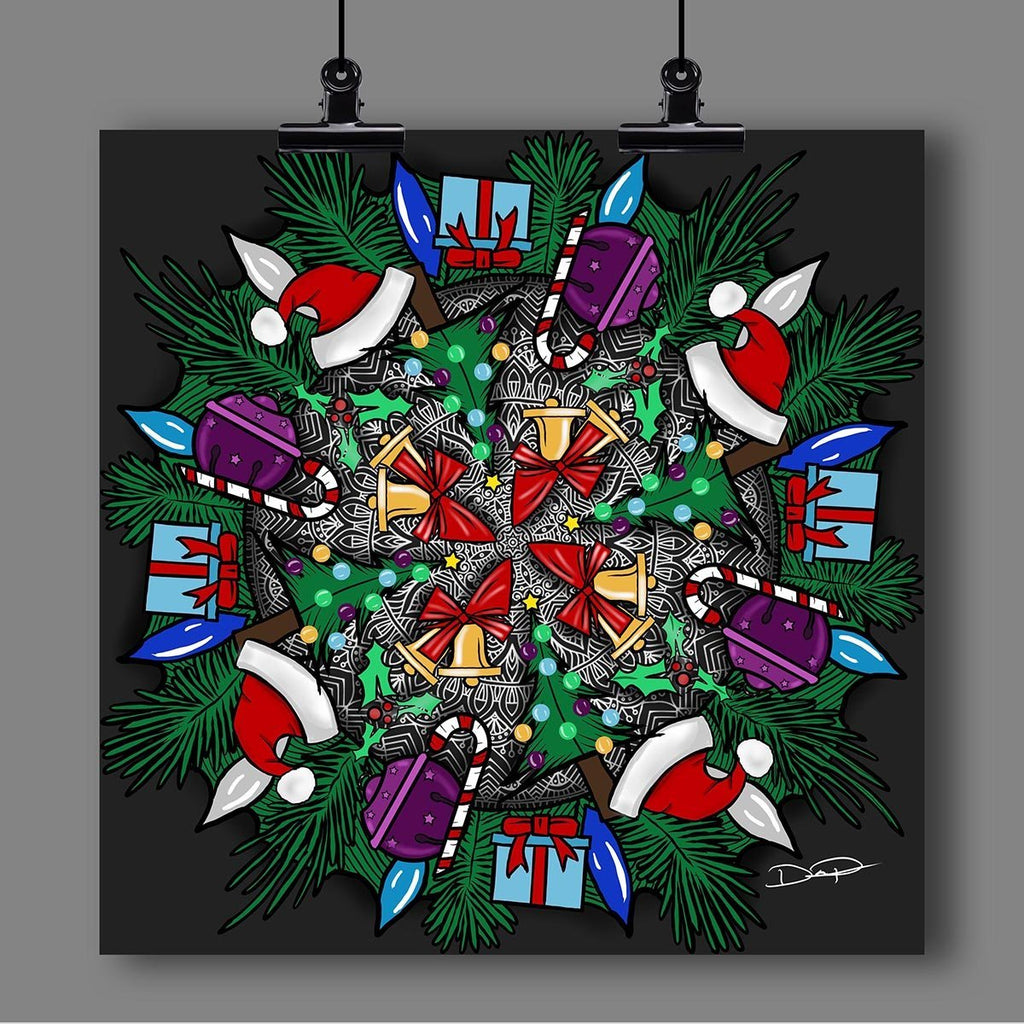 "Christmas ""Mandala"" Art Print by Artist Dan Pearce - Dan Pearce Creative Shop"