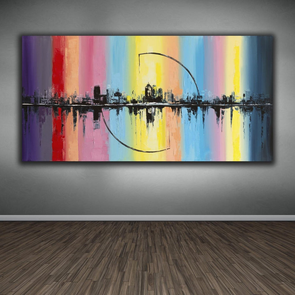 """City Arc"" Rainbow Cityscape Canvas Oil Painting Wall Hanging 30"" x 60"" - Dan Pearce Creative Shop"