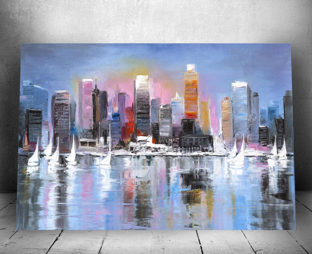 """City Coast"" Canvas Oil Painting Wall Hanging 16"" x 24"" - Dan Pearce Creative Shop"