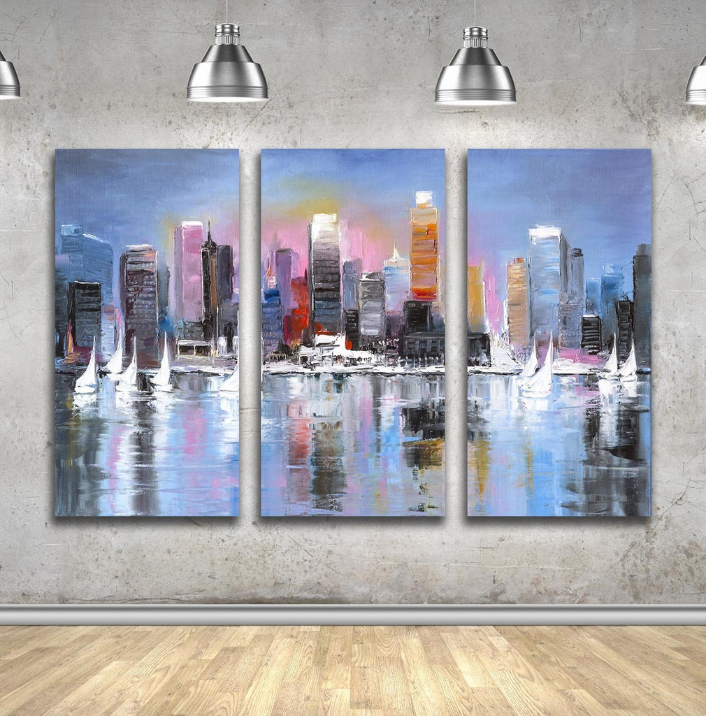 """City Coast"" Multi-Canvas Oil Painting Wall Hanging - Dan Pearce Creative Shop"