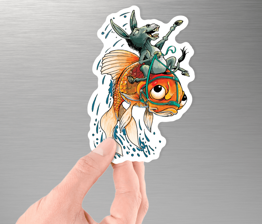 Collectible Poker Sticker #1 - Donkey Riding a Fish (A) - Dan Pearce Creative Shop