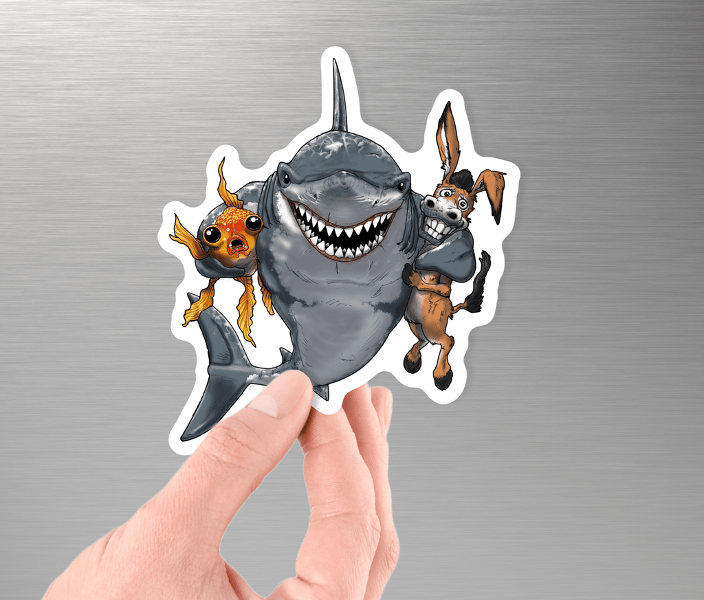 Collectible Poker Sticker #6 - Shark, Donkey, Fish (D) - Dan Pearce Creative Shop