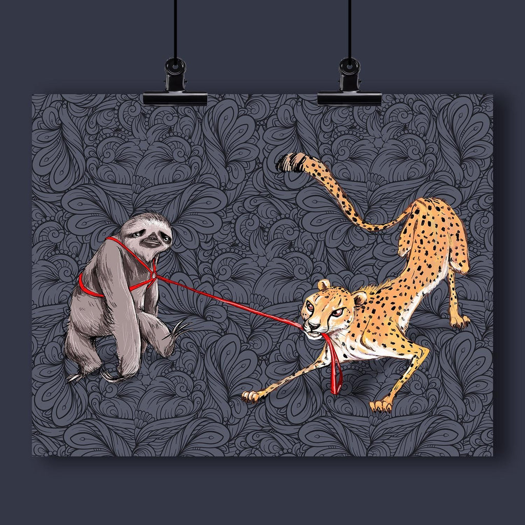 """Come On Slow Poke"" Cheetah Pulling the Sloth Art Print by Dan Pearce - Dan Pearce Creative Shop"