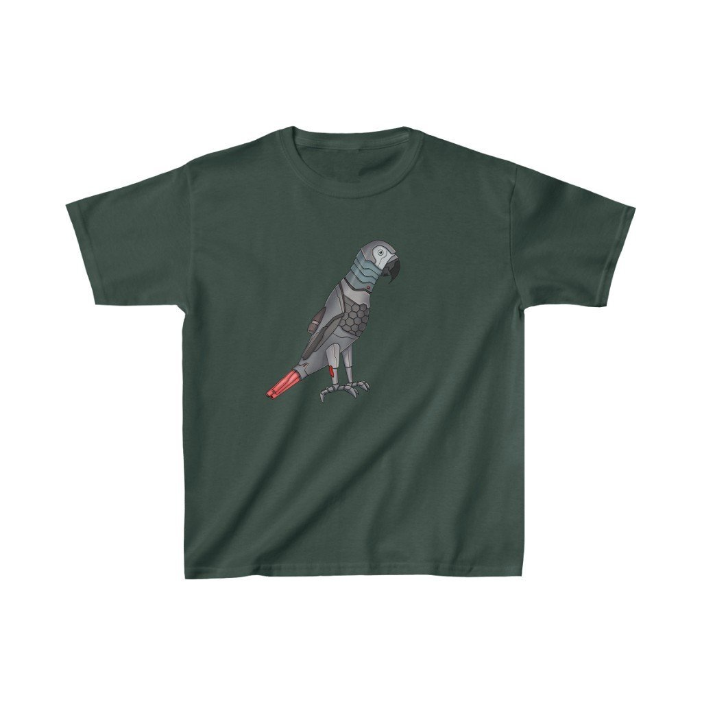 """Congo African Grey Parrot Robot"" Kids Heavy Cotton™ T-Shirt (Youth) - Dan Pearce Creative Shop"
