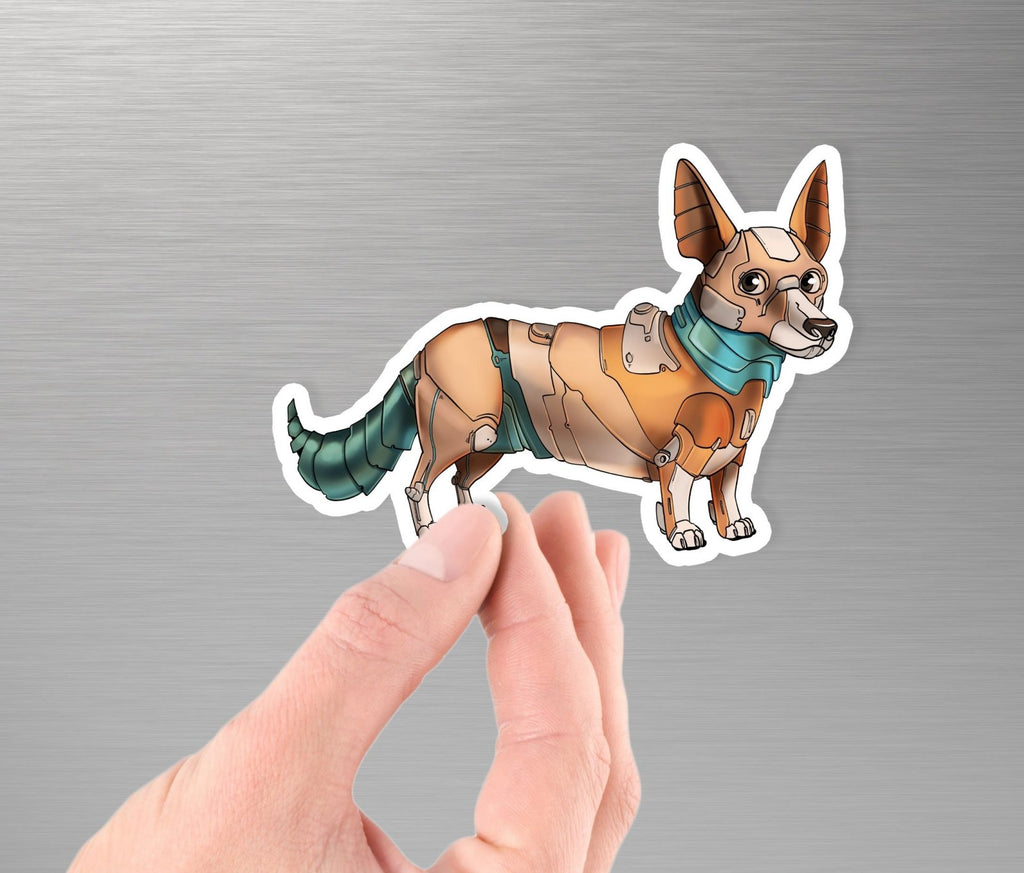 """Corgi Robot"" - 3.5"" Premium Vinyl Sticker - Dan Pearce Creative Shop"