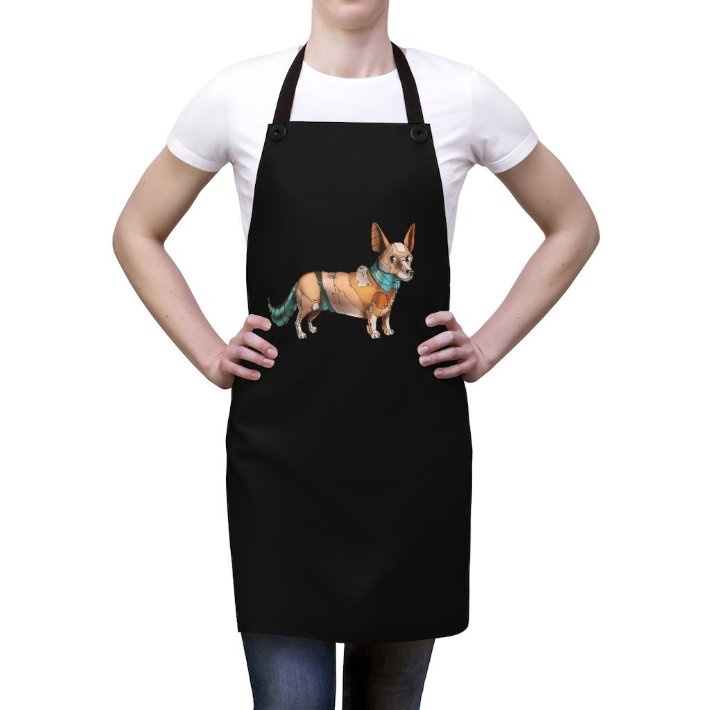 """Corgi Robot"" Cooking Apron Featuring Art by Dan Pearce - Dan Pearce Creative Shop"