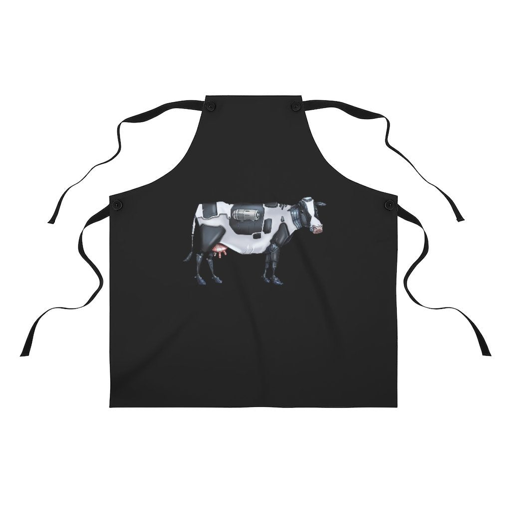 """Cow Robot"" Cooking Apron Featuring Art by Dan Pearce - Dan Pearce Creative Shop"
