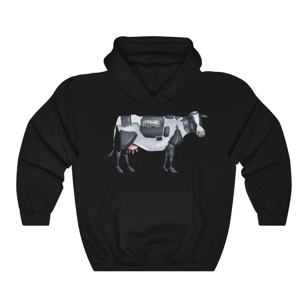 """Cow Robot"" Hooded Sweatshirt by Dan Pearce (Hoodie) - Dan Pearce Creative Shop"
