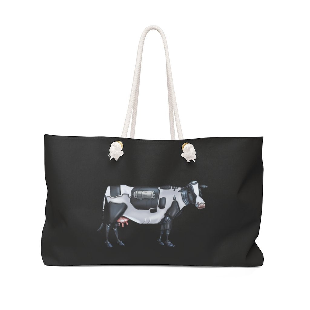 """Cow Robot"" Weekender Bag (Pink Version) - Dan Pearce Creative Shop"