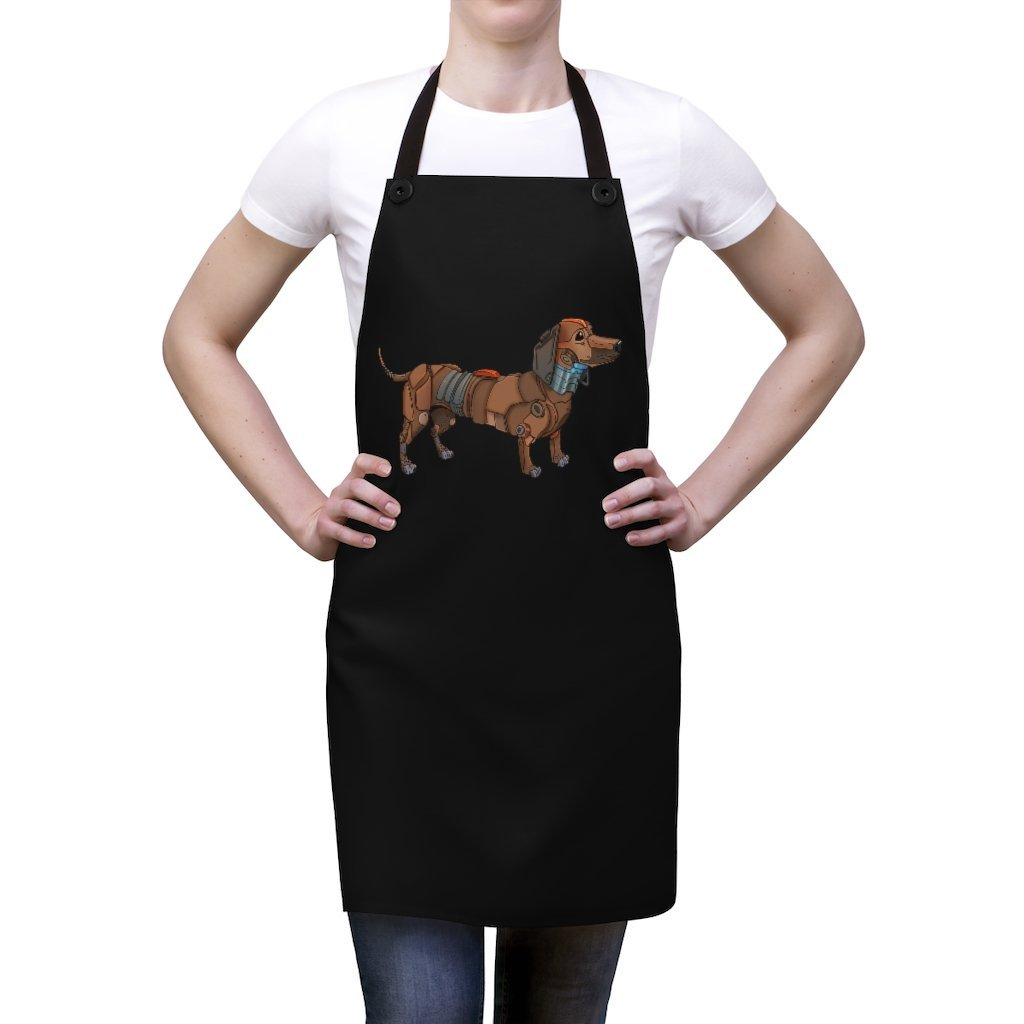 """Dachshund Robot"" Cooking Apron Featuring Art by Dan Pearce - Dan Pearce Creative Shop"