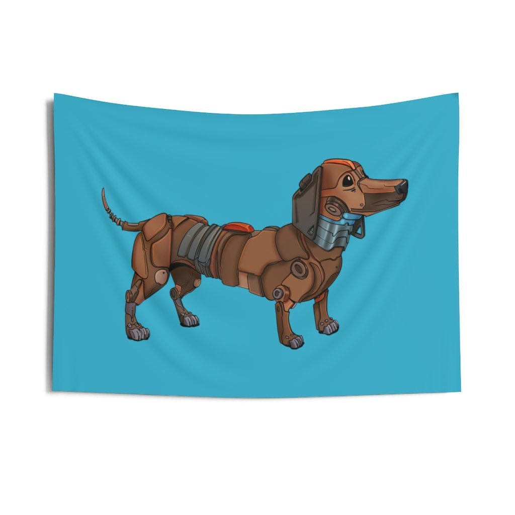 """Dachshund Robot"" Indoor Wall Tapestry - Dan Pearce Creative Shop"