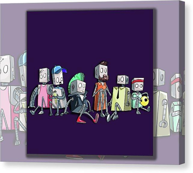 "Dan Pearce's ""Friends of a Different Feather"" Robot Gallery Wrap Art Canvas - Dan Pearce Creative Shop"