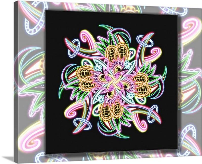 Dan Pearce's Neon Mandala (#18) Gallery Wrap Art Canvas - Dan Pearce Creative Shop