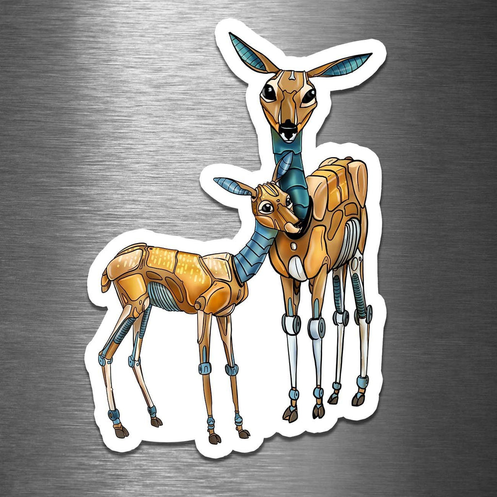 """Deer & Fawn Robots"" - 3.5"" Premium Vinyl Sticker - Dan Pearce Creative Shop"