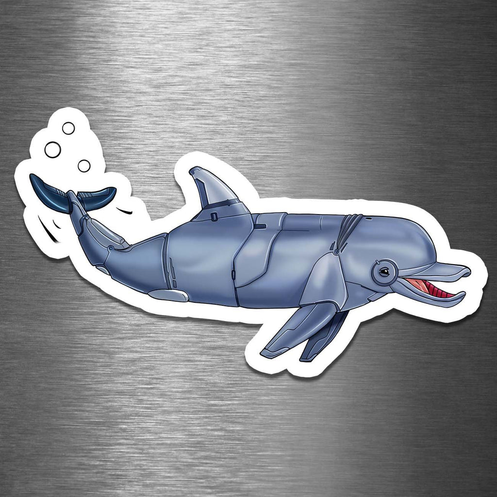 """Dolphin Robot"" - 3.5"" Premium Vinyl Sticker - Dan Pearce Creative Shop"