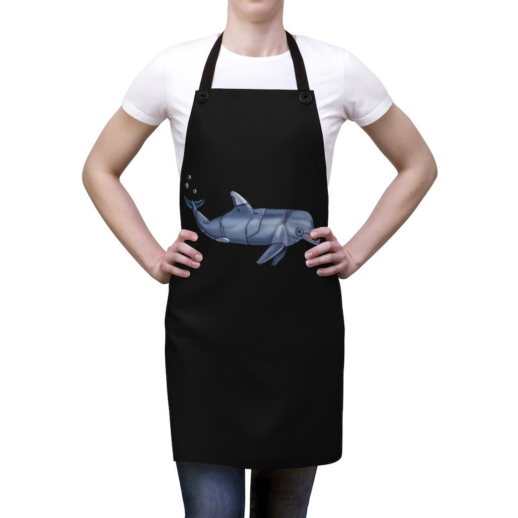 """Dolphin Robot"" Cooking Apron Featuring Art by Dan Pearce - Dan Pearce Creative Shop"