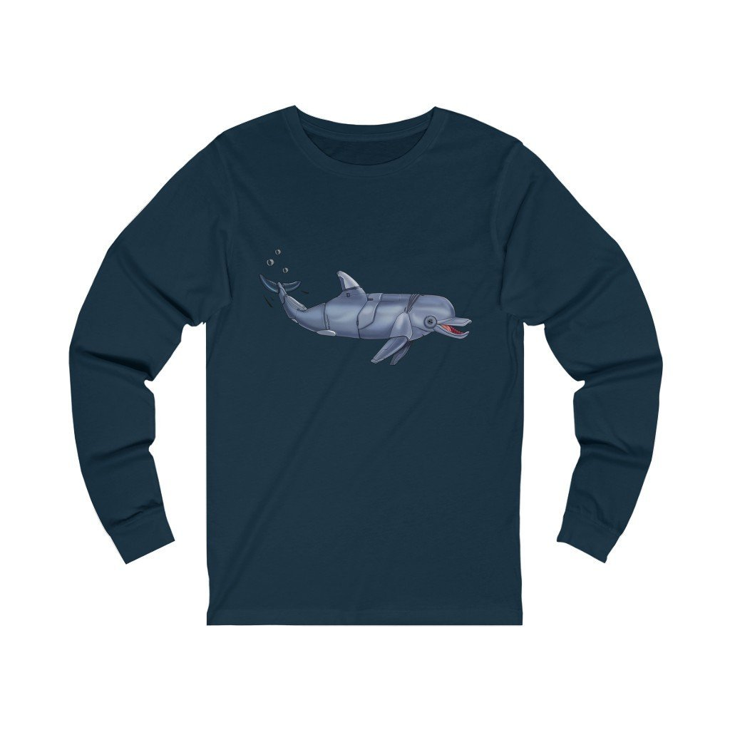 """Dolphin Robot"" Long-Sleeve Premium T-Shirt - Dan Pearce Creative Shop"