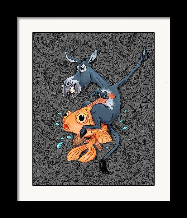Donkey Riding a Fish Poker Art Print - Dan Pearce Creative Shop