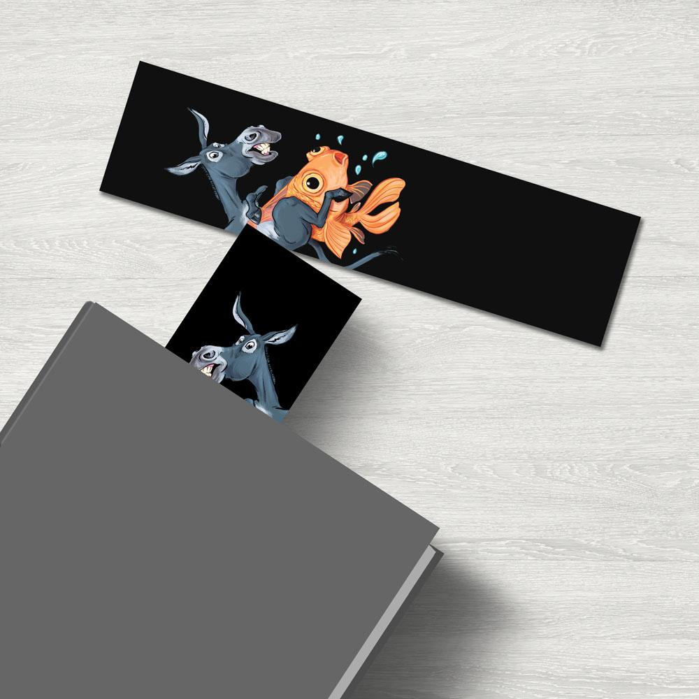 """Donkey Riding Fish"" Premium Bookmark Featuring Art by Dan Pearce - Dan Pearce Creative Shop"