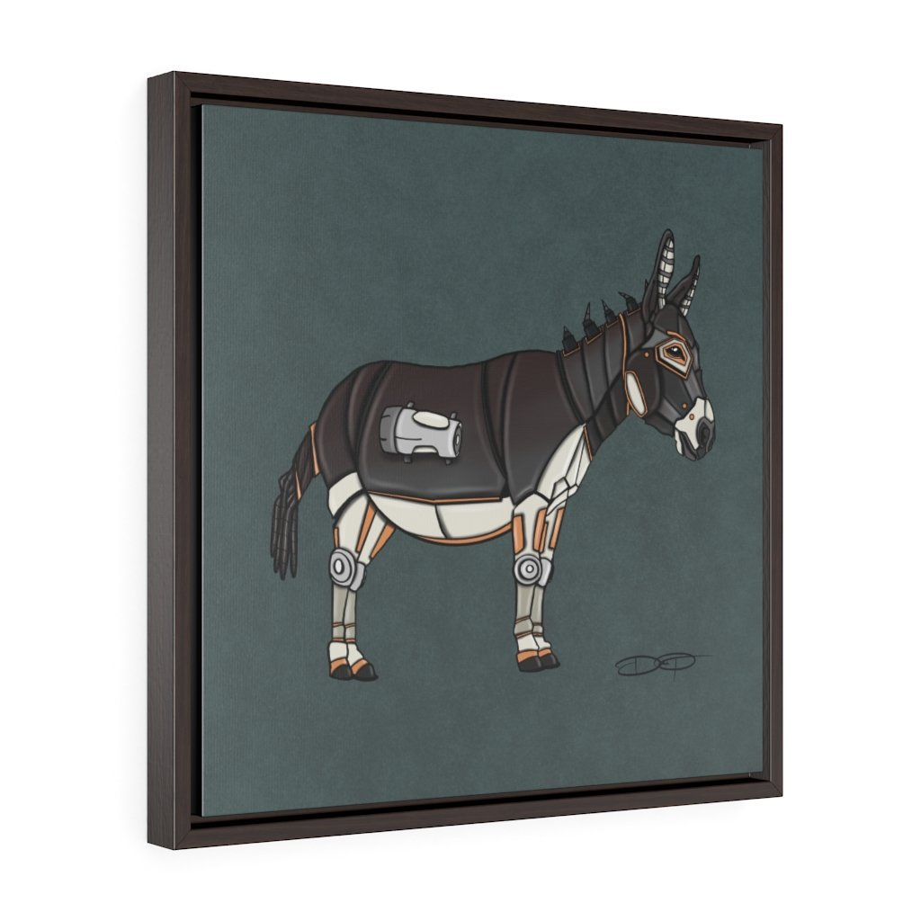 """Donkey Robot"" Art (Square) Framed Premium Gallery Wrap Canvas - Dan Pearce Creative Shop"