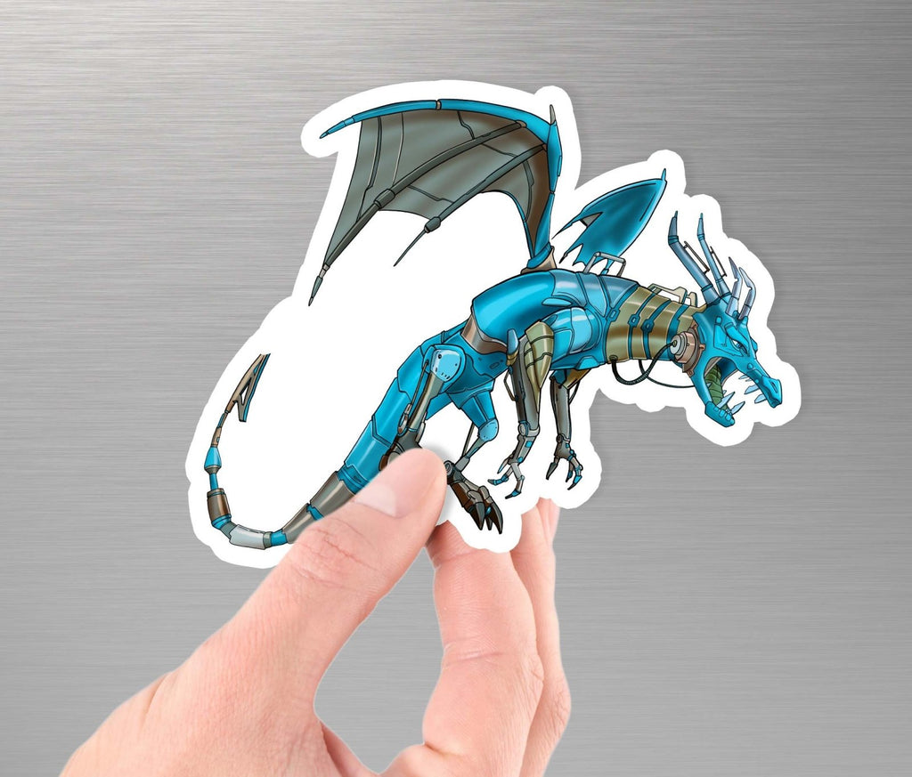"""Dragon Robot"" - 3.5"" Premium Vinyl Sticker - Dan Pearce Creative Shop"