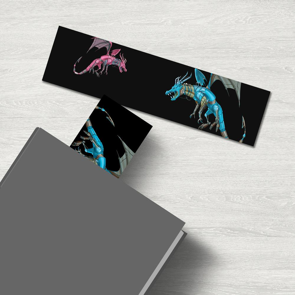 """Dragon Robots"" Premium Bookmark Featuring Art by Dan Pearce - Dan Pearce Creative Shop"