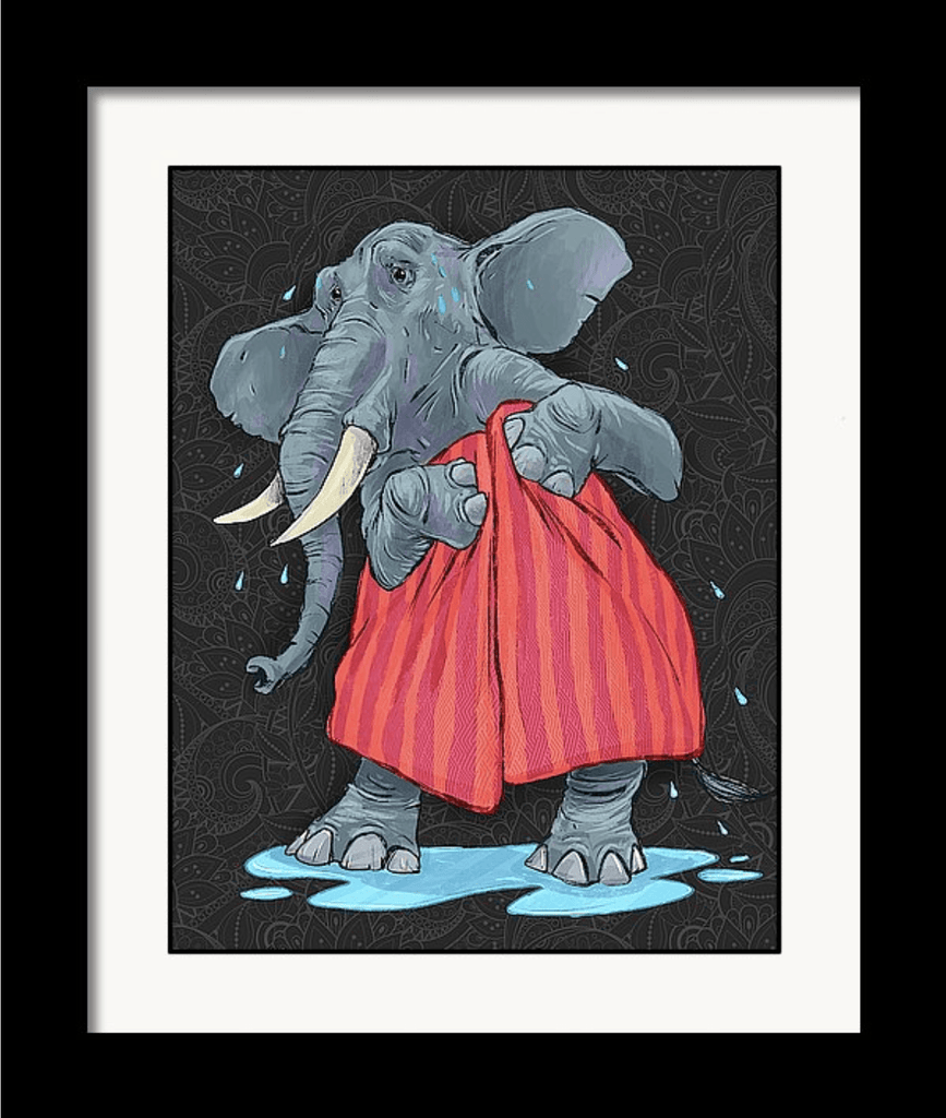 """Elephant in a Towel"" Art Print by Dan Pearce - Dan Pearce Creative Shop"