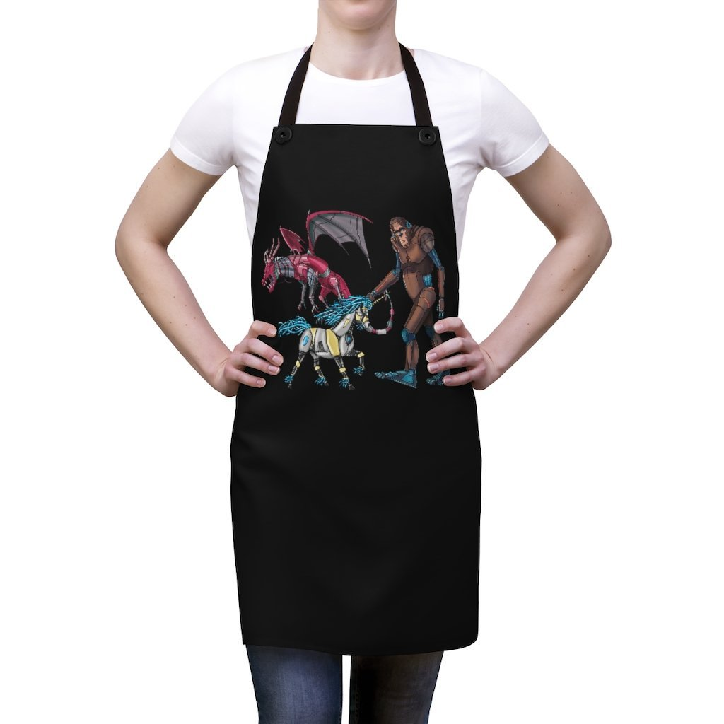 """Fantasy Robot Animals - Unicorn, Bigfoot, & Dragon"" Cooking Apron Featuring Art by Dan Pearce - Dan Pearce Creative Shop"
