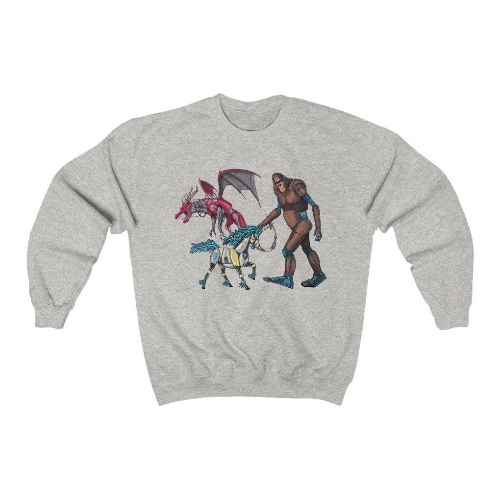 """Fantasy Robot Animals - Unicorn, Bigfoot, & Dragon"" Crewneck Premium Sweatshirt - Dan Pearce Creative Shop"