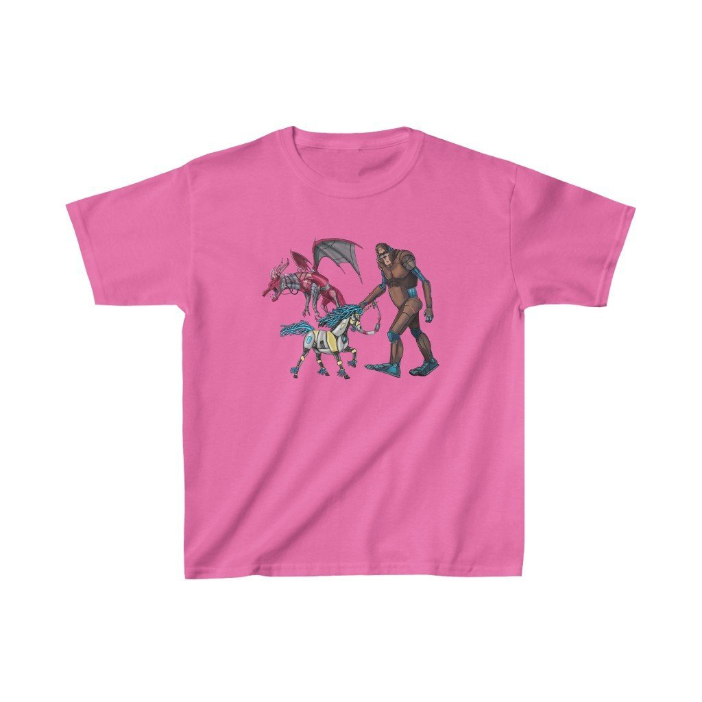 """Fantasy Robot Animals - Unicorn, Bigfoot, & Dragon"" Kids Heavy Cotton™ T-Shirt (Youth) - Dan Pearce Creative Shop"