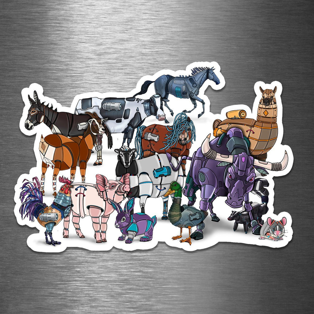 """Farm Animals Robots"" - Premium 5.25"" or 7.25"" Vinyl Sticker (PRE-ORDER) - Dan Pearce Creative Shop"