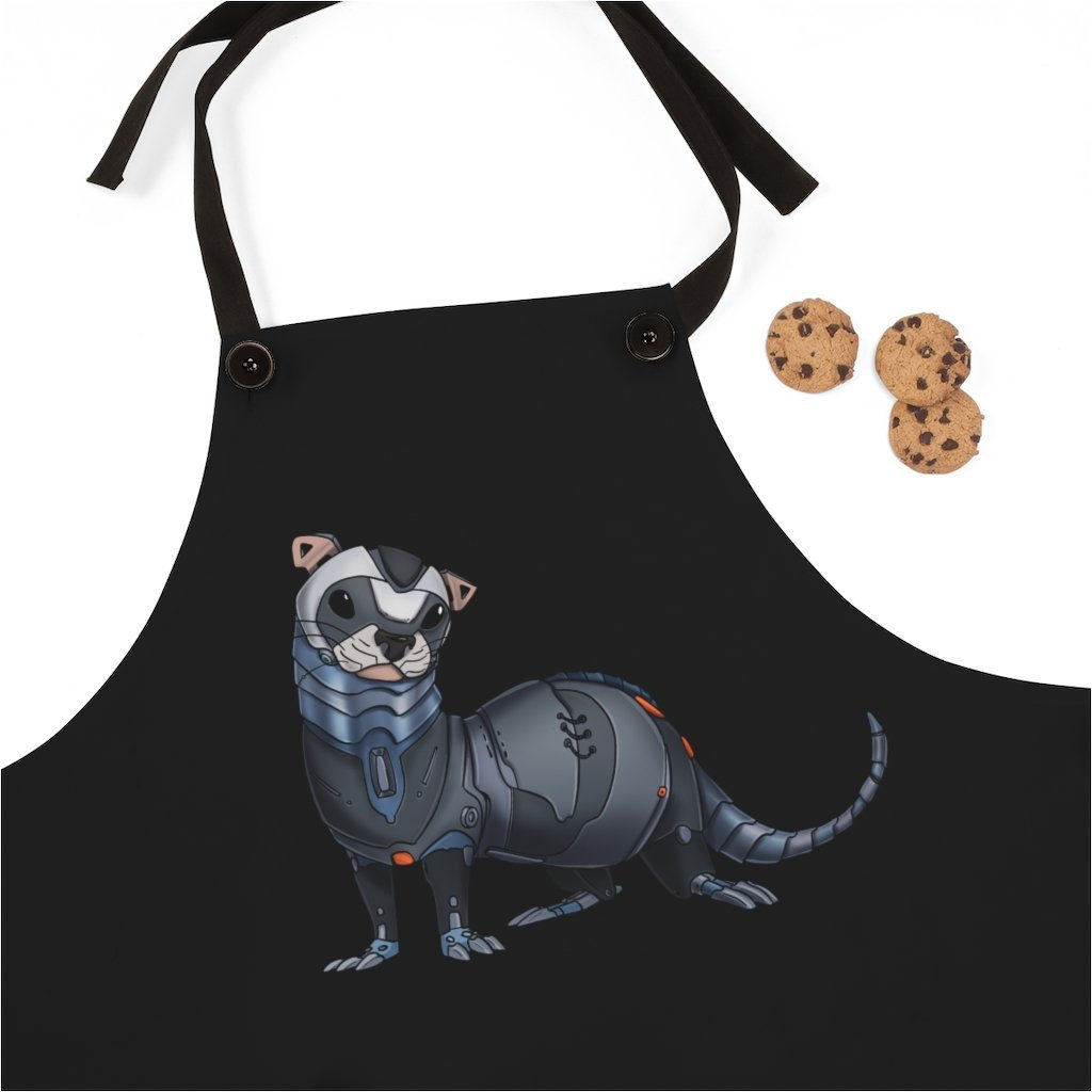 """Ferret Robot"" Cooking Apron Featuring Art by Dan Pearce - Dan Pearce Creative Shop"